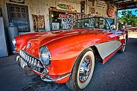 ROUTE 66, AZ - JUN 24: Convertible Corvette parked in Hackberry Arizona General Store taken June 24 of 2010. This is a very popular tourist destination.