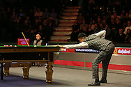 Ding Junhui (Chn) in action. Ding Junhui (Chn) v Kyren Wilson (Eng),  1st round match at the Dafabet Masters Snooker 2017, day 1 at Alexandra Palace in London on Sunday 15th January 2017.<br /> pic by John Patrick Fletcher, Andrew Orchard sports photography.