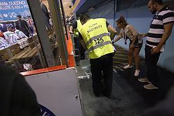 16.09.2011, Dom Sportova, Zagreb, CRO, EBEL, KHL Medvescak vs Moser Medical Graz99ers, im Bild A glass fence fell down  by the end of a second period. Luckily nobody was hurt // during EBEL Eishockey game betweent KHL Medvescak vs Moser Medical Graz99ers at Dom Sportova, Zagreb, Croatia on 16/09/2011. EXPA Pictures © 2011, PhotoCredit: EXPA/ nph/ Pixsell +++++ ATTENTION - OUT OF GERMANY/(GER), CROATIA/(CRO), BELGIAN/(BEL) +++++