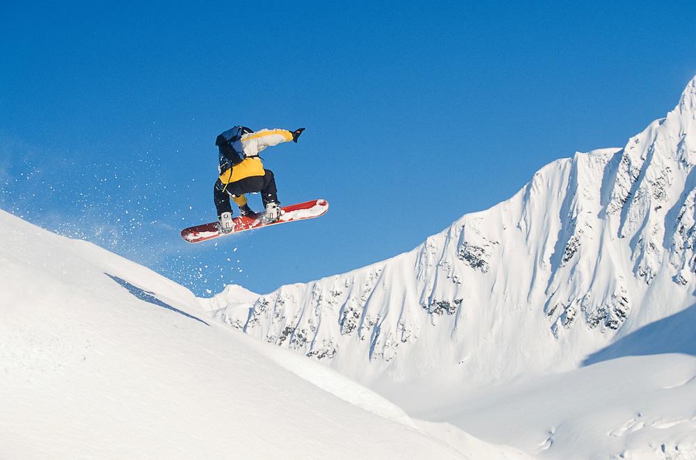 Alaska. Chugach Range. Snow boarder Jeremy Jones. MR