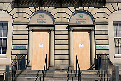 Edinburgh, Scotland, UK. 8 April 2020. Images from Edinburgh during the continuing Coronavirus lockdown. Pictured; Holiday Inn Express at Picardy Place closed and boarded up. Iain Masterton/Alamy Live News.