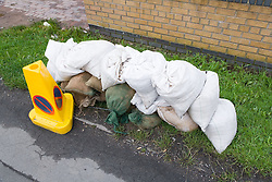 Sandbags lined up to reduce flooding during the floods at Toll Bar; South Yorkshire; July 2007,