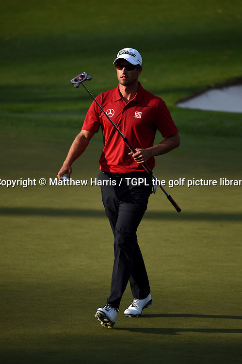 Adam SCOTT (AUS) in full stride having made birdie at 15th par 5 during second round US Masters 2014,Augusta National,Augusta, Georgia,USA.