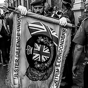 Loyalist Protestants parade through Londonderry to commemorate the Apprentice Boys of Derry as new members will be initiated into the organization. Northern Ireland, September 2019