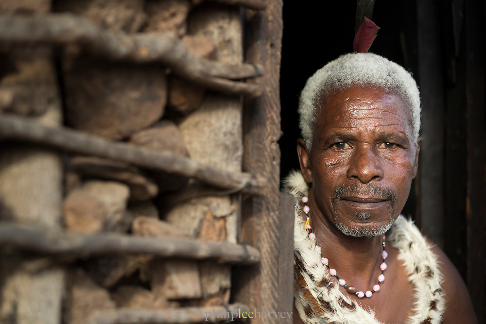 Portrait of man wearing traditional dress looking at camera, Eswatini