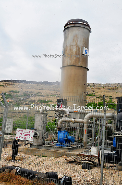 Israel, Galilee, The Hagal landfill started operation in 1999 and receives 1200 tons a day Methane gas is collected and burnt to produce electricity and reduce greenhouse gas emission