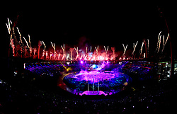 Fireworks are set off as the final performance takes place during the Opening Ceremony for the 2018 Commonwealth Games at the Carrara Stadium in the Gold Coast, Australia. PRESS ASSOCIATION Photo. Picture date: Wednesday April 4, 2018. See PA story COMMONWEALTH Ceremony. Photo credit should read: Mike Egerton/PA Wire. RESTRICTIONS: Editorial use only. No commercial use. No video emulation