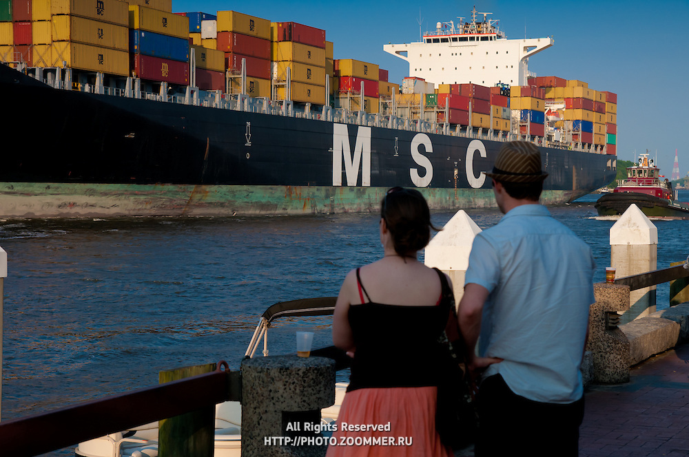 People watch MSC Tamara coming into Savannah port