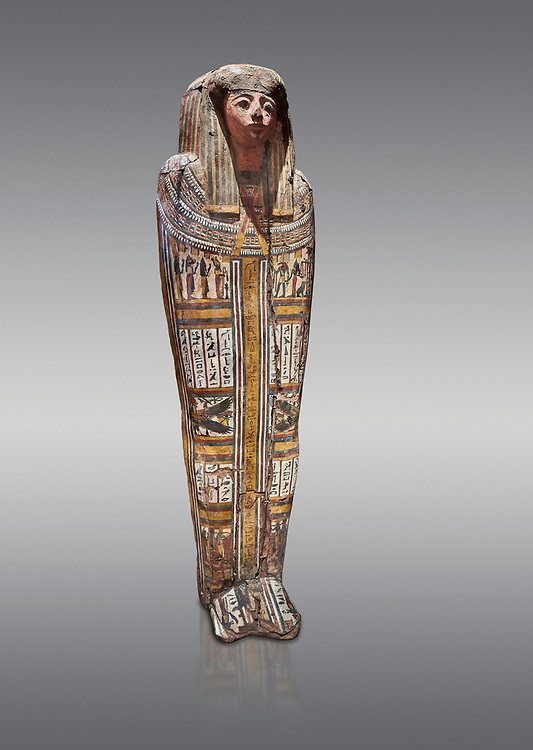"""Ancient Egyptian wooden sarcophagus - the tomb of Tagiaset, Iuefdi & Harwa circa 22nd Dynasty (943 - 716 BC.) Thebes. Egyptian Museum, Turin. Grey background.<br /> <br /> Coffin lid of the eldest woman buried in the tomb, probably Tagiasettahekat, wife of Padiau. The sarcophagus decoration includes representation of strips crossed over her chest typical of """"stoa coffin"""" of the 22nd dynasty. .<br /> <br /> If you prefer to buy from our ALAMY PHOTO LIBRARY  Collection visit : https://www.alamy.com/portfolio/paul-williams-funkystock/ancient-egyptian-art-artefacts.html  . Type -   Turin   - into the LOWER SEARCH WITHIN GALLERY box. Refine search by adding background colour, subject etc<br /> <br /> Visit our ANCIENT WORLD PHOTO COLLECTIONS for more photos to download or buy as wall art prints https://funkystock.photoshelter.com/gallery-collection/Ancient-World-Art-Antiquities-Historic-Sites-Pictures-Images-of/C00006u26yqSkDOM"""