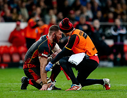 Harrison Keddie of Dragons receives medical attention<br /> <br /> Photographer Simon King/Replay Images<br /> <br /> Guinness PRO14 Round 12 - Dragons v Ospreys - Sunday 30th December 2018 - Rodney Parade - Newport<br /> <br /> World Copyright © Replay Images . All rights reserved. info@replayimages.co.uk - http://replayimages.co.uk