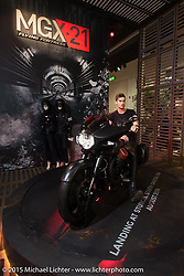 """Moto Guzi's MGX Flying Fortress dresser revealed (the production model will """"land"""" in Sturgis August 2016) at EICMA, the largest international motorcycle exhibition in the world. Milan, Italy. November 21, 2015.  Photography ©2015 Michael Lichter."""