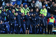 Neil Warnock, the Cardiff city manager (l) celebrates after Sol Bamba scores Cardiff's late equalising goal. EFL Skybet championship match, Cardiff city v Sheffield Wednesday at the Cardiff City Stadium in Cardiff, South Wales on Saturday 16th September 2017.<br /> pic by Andrew Orchard, Andrew Orchard sports photography.