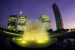 Stock photo of an evening view Wortham fountain in front of the AEG Center