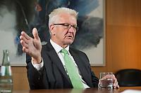 25 SEP 2015, BERLIN/GERMANY:<br /> Winfried Kretschmann, B90/ Gruene, Ministerpraesident Baden-Wuerttemberg, waehrend einem Interview, Bundesrat<br /> IMAGE: 20150925-02-037