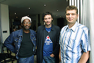 British film director Peter Cattaneo with stars Lennie James and Julian barratt attending a press conference before tonight's world premiere of thei latest movie Lucky Break at the Edinburgh International Film Festival.