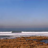 Africa, Morocco, Casablanca. The Atlantic Ocean waves roll in to the Moroccan coast near Casablanca.