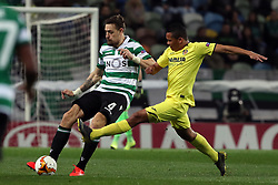 February 14, 2019 - Lisbon, Portugal - Sporting's defender Sebastian Coates from Uruguay (L) vies with Villarreal's forward Carlos Bacca during the UEFA Europa League Round of 32 First Leg football match Sporting CP vs Villarreal CF at Alvalade stadium in Lisbon, Portugal on February 14, 2019. (Credit Image: © Pedro Fiuza/NurPhoto via ZUMA Press)