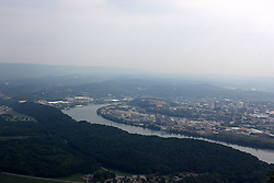 July 2007:  The Tennessee River curves around the downtown area of the City of Chattanooga. Attractions near Chattanooga Tennessee. Point Park, National Park Service - Lookout Mountain, TN.