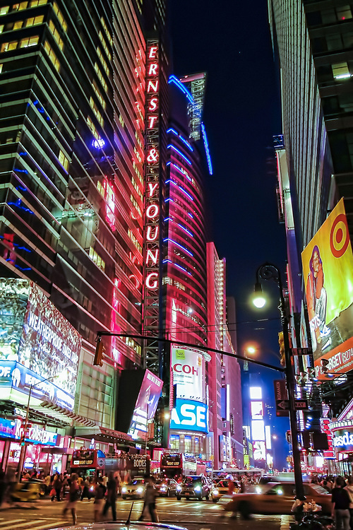 Ernst & Young times square at night. NYC 2009
