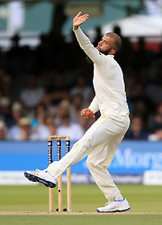 England's Moeen Ali bowls during day four of the First Investec Test match at Lord's, London. PRESS ASSOCIATION Photo. Picture date: Sunday July 9, 2017. See PA story CRICKET England. Photo credit should read: Nigel French/PA Wire. RESTRICTIONS: Editorial use only. No commercial use without prior written consent of the ECB. Still image use only. No moving images to emulate broadcast. No removing or obscuring of sponsor logos.
