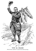 Vive la Chasse! [With Mr Punch's compliments to our gallant allies on their bag of Zepps.] (a French soldier returns from a hunt and hangs his collection of zeppelins on his rifle during WW1)