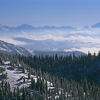Rocky Mountains, Montana.  Mountains of Glacier National Park, viewed from The Big Mountain ski area, above Whitefish.