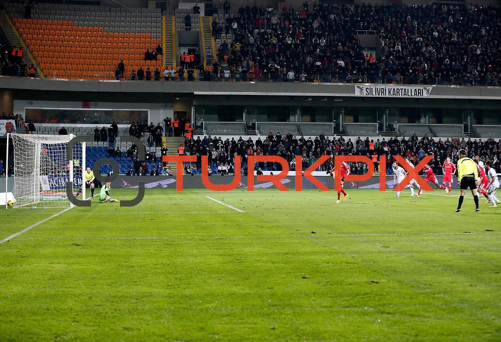 Besiktas's Demba Ba scores during their Turkish Super League soccer match Istanbul Besiktas between Kasimpasa at the Basaksehir Fatih Terim Arena at Basaksehir in Istanbul Turkey on Sunday, 23 November 2014. Photo by Aykut AKICI/TURKPIX
