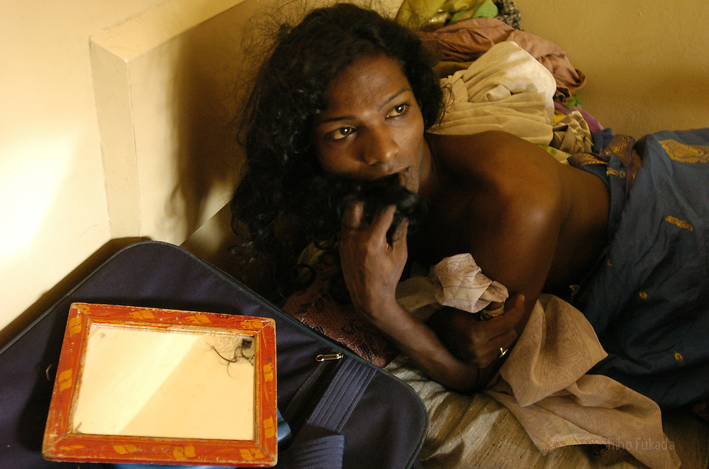 """A transgender in bed in Villupuram, India.<br /> As transgenders,""""hijras"""" in local terms, are acutely marginalized in Indian society, the major earning avenues for them are sex work, begging and performing at rituals."""