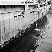 """ackroyd-P365-04 """"Captayannis on drydock. November 29, 1967"""" (Greek sugar-carrying vessel that sank in 1974)"""