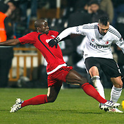 Besiktas's Hugo Almedia (R) during their Turkish superleague soccer match Besiktas between Gaziantepspor at BJK Inonu Stadium in Istanbul Turkey on Tuesday, 05 January 2012. Photo by TURKPIX