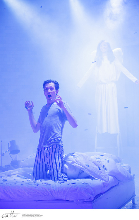 Angels In America cast members perform in Part 1: Millennium Approaches, directed by Eamon Flack, at Belvoir Theatre in Sydney, Australia.  The cast include Paula Arundell, Mitchell Butel, Marcus Graham, Amber McMahon, Luke Mullins, Robyn Nevin, DeObia Oparei, and Ashley Zukerman.