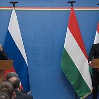 Sergei Lavrov (L) Foreign Minister of Russia attends a press conference with his Hungarian counterpart Peter Szijjarto (R) at the Minister of Foreign Affairs and Trade in Budapest, Hungary on Aug. 24, 2021. ATTILA VOLGYI