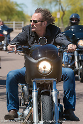 """Kim Tig Coates from the Sons of Anarchy lead the 3rd Annual Crusaders for the Children """"Child Empowerment Ride"""" during Arizona Bike Week 2014. USA. April 6, 2014.  Photography ©2014 Michael Lichter."""