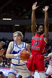 NORMAL, IL - February 22: Rey Idowu turns back Garrett Sturtz during a college basketball game between the ISU Redbirds and the Drake Bulldogs on February 22 2020 at Redbird Arena in Normal, IL. (Photo by Alan Look)