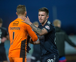 Falkirk's keeper Robbie Thomson and Falkirk's Kevin O'Hara at the end. Falkirk 3 v 1 Inverness Caledonian Thistle, Scottish Championship game played 27/1/2018 at The Falkirk Stadium.