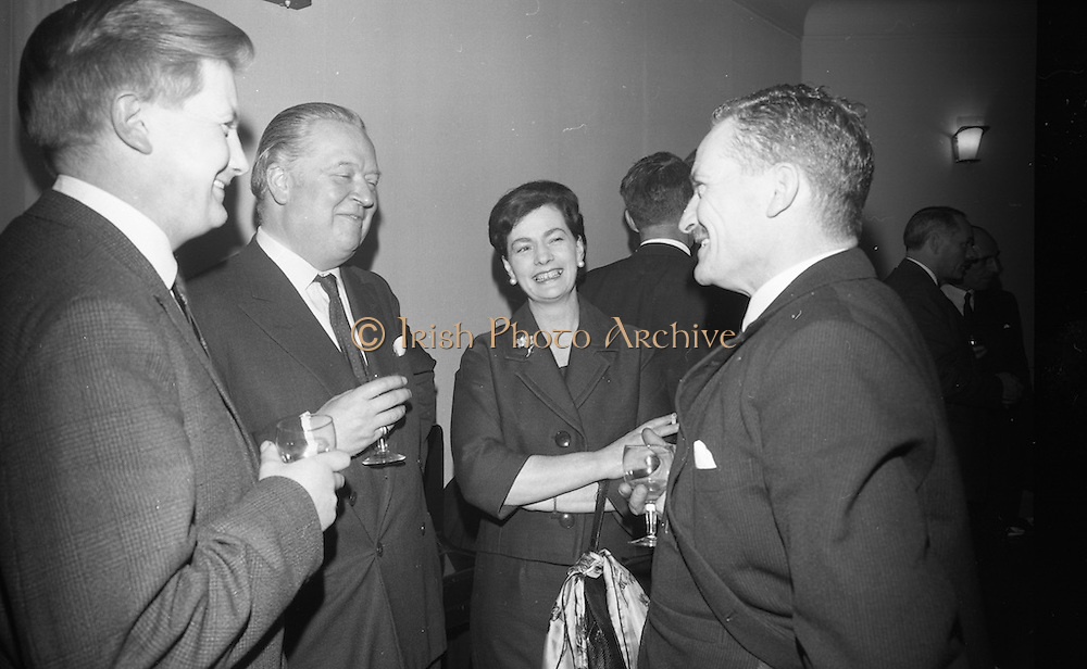 Sterling Moss is the guest of honour at a midnight matinee showing of films from the Irish Shell and BP Library at the Savoy Cinema. The event was organised by the Motor Enthusiasts Group in aid of The Irish Society for the Prevention of Cruelty to Children.<br /> 08.02.1966