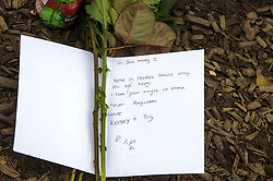 © Licensed to London News Pictures. 03/12/2013 London, UK. A tribute is left outside a house on the North Circular Road where a  teenager has been stabbed to death. Officers were called to the address  in Palmers Green where they found the 17-year-old from Haringey. Photo credit : Simon Jacobs/LNP
