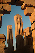 EGYPT, THEBES, KARNAK TEMPLE lotus, papyrus columns in Temple of Amun