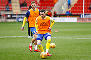 Leeds United midfielder Jack Harrison (22), on loan from Manchester City,  warming up  during the EFL Sky Bet Championship match between Rotherham United and Leeds United at the AESSEAL New York Stadium, Rotherham, England on 26 January 2019.