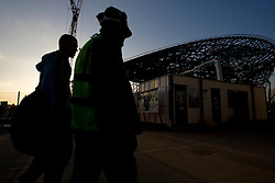 Aquatics Centre. Picture of workers taken during the evening on the Aquatics Centre. Picture taken on 28th Oct 09 by Dave Poultney.