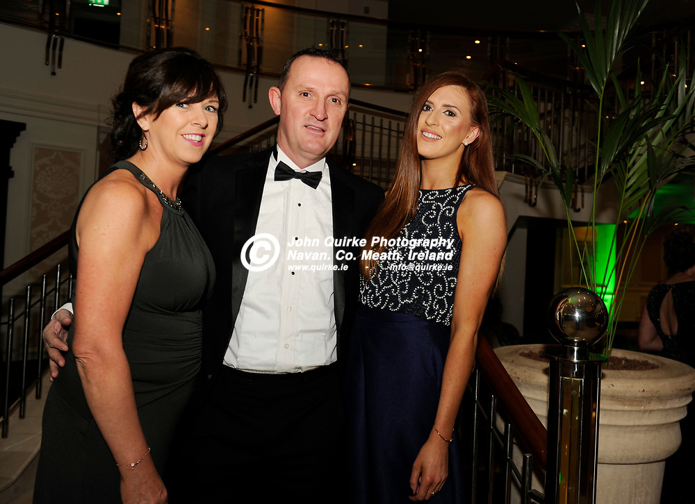20-01-2017. Meath Chronicle / Cusack Hotel Group Sports Person of the Year Awards 2016 at the Knightsbrook Hotel, Trim.<br /> From Left, Catherine, Andy and Aisling McEntee.<br /> Photo: John Quirke / www.quirke.ie<br /> ©John Quirke Photography, Unit 17, Blackcastle Shopping Cte. Navan. Co. Meath. 046-9079044 / 087-2579454.