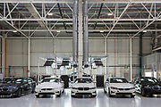 SAN LUIS POTOSI, MEXICO - JUNE 13, 2019: Complete vehicles at the end of the assembly area in the BMW vehicles production plant in Mexico.