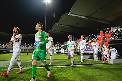 Players of Aluminij entering the pitch before football match between NS Mura and Aluminij in 7th Round of Prva liga Telekom Slovenije 2020/21, on October 18, 2020 in Mestni stadion Fazanerija, Murska Sobota, Slovenia. Photo by Blaž Weindorfer / Sportida