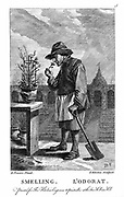 Gardener smelling a carnation or pink (Dianthus). Engraving after one of set of 'The Five Senses' by David Teniers the Younger (1610-1690). Descartes' interaction theory. Reflexes mechanistically determined. Body and mind interacted at pineal gland.