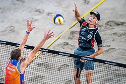 Julius Thole GER in action during the last day of the beach volleyball event King of the Court at Jaarbeursplein on September 12, 2020 in Utrecht.