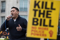 Henry Chango-Lopez, General Secretary of the Independent Workers Union of Great Britain (IWGB), addresses thousands of people attending a Kill The Bill demonstration in Trafalgar Square as part of a National Day of Action to mark International Workers Day on 1st May 2021 in London, United Kingdom. Nationwide protests have been organised against the Police, Crime, Sentencing and Courts Bill 2021, which would grant the police a range of new discretionary powers to shut down protests.