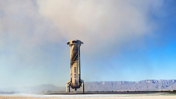 Handout photo dated October 13, 2021 of the New Shepard booster on the pad after a successful NS-18 mission. Hollywood actor William Shatner has become the oldest person to go to space as he blasted off aboard the Blue Origin sub-orbital capsule. The 90-year-old, who played Captain James T Kirk in the Star Trek films and TV series, took off from the Texas desert with three other individuals. Mr Shatner's trip on the rocket system - developed by Amazon.com founder Jeff Bezos - lasted about 10 minutes. Photo by Blue Origin via ABACAPRESS.COM