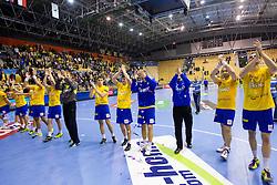 Players of Celje  celebrate after the handball match between RK Celje Pivovarna Lasko and IK Savehof (SWE) in 3rd Round of Group B of EHF Champions League 2012/13 on October 13, 2012 in Arena Zlatorog, Celje, Slovenia. (Photo By Vid Ponikvar / Sportida)