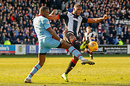 Duckens Nazon of St Mirren challenges Genseric Kusunga of Dundee FC during the Ladbrokes Scottish Premiership match between St Mirren and Dundee at the Paisley 2021 Stadium, St Mirren, Scotland on 30 March 2019.