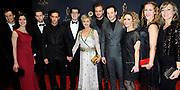 Musical Award Gala 2015 in het Beatrix threater, Utrecht.<br /> <br /> Op de foto:    cast Hartsvrieden oa Yes-r, Vera Mann, Jim Bakkum, Guido Spek, Maaike Boerdam, Jacqueline Boerdam